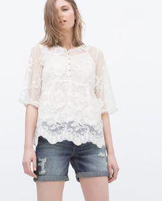 EMBROIDERED TOP-Short Sleeve-T-shirts-WOMAN | ZARA United Kingdom