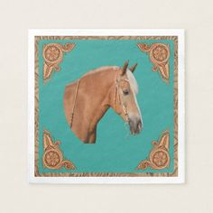 Palomino Horse With Leather Print Trim Party Paper Napkin