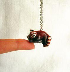 Red Panda necklace, Animal jewelry, Animal Totem. $37.00, via Etsy.