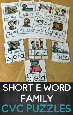 Great cvc word activity for kindergarten!  These short E family puzzles helps students practice sounding out letters, solidifying letter-sound correspondance and become familiar with encoding and decoding CVC words.  There are 20 puzzles to use during literacy centers, for early finishers and more!  The perfect CVC game to use to practice word families! Phonics Rules, Phonics Lessons, Teaching Phonics, Primary Teaching, Teaching Resources, Teaching Ideas, Word Work Activities, Spelling Activities, Alphabet Activities