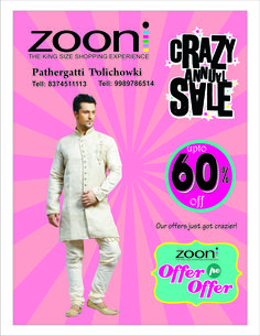 Be the center of attraction everywhere with Zooni's #Mens wear collection...  Remember, the Crazy Annual #Sale gives you upto 60% discounts.