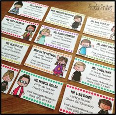 Editable Teacher Contact / Business Cards - Just add a magnet to the back so they'll stick to the refrigerator for parents! Great for open house or meet the teacher night!