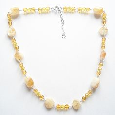 #Amber Czech glass and Citrine...   #citrine #necklace  Repin, Like, Share!  Thanks!