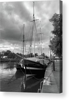 Quay Of Travein Luebeck_monochrome Acrylic Print by Marina Usmanskaya for home decor. All acrylic prints are professionally printed, packaged, and shipped within 3 - 4 business days and delivered ready-to-hang on your wall. Choose from multiple sizes and mounting options. The old part of the city Luebeck lies on a hill and is surrounded by the waters of Trave and Vakenica