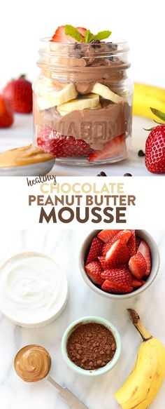 Make this Healthy Chocolate Peanut Butter Mousse with just three simple ingredients: vanilla Greek yogurt, cocoa powder, and peanut butter!
