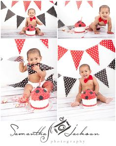 www.samanthajacksonphotography.co.za Cape Town Professional Cake Smash Photographer 1 year old Toddler Shoot Cake Smash session in studio Studio in Table View, Blouberg Giant Cupcake Cake - red, black and white.
