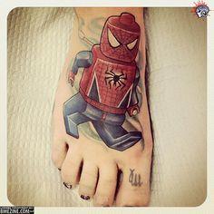 Lego spiderman foot tattoo on Jackee Lynn Daddy Tattoos, Cute Tattoos, Beautiful Tattoos, Body Art Tattoos, Small Tattoos, Tattoos For Guys, Tatoos, Beautiful Body, Beautiful Artwork