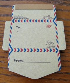 Kraft fold-it-yourself notes to send. Package of 50 for only $5.50 at AdoreNeko on Etsy. So cute!