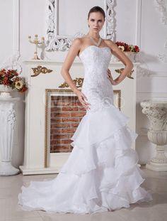 Sweetheart Mermaid Trumpet Beaded Embroidery Organza Wedding Dress - Milanoo.com