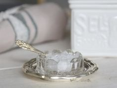 Salt Cellar with Spoon and Silver Tray