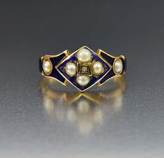 "boylerpf: "" Blue Enamel Pearl and Diamond Antique Gold Ring "" Antique Jewellery Online, Antique Jewelry, Vintage Jewelry, Silver Jewelry Cleaner, 14k Gold Jewelry, Kids Jewelry, Cheap Jewelry, Mourning Jewelry, Mourning Ring"