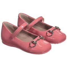 Gucci Girls Pink Patent Leather Horsebit Shoes at Childrensalon.com