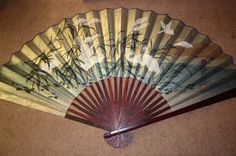 Vintage Large Hand Painted Signed Oriental Fan