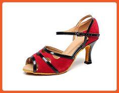 Minishion QJ6226 Women's Color Block Red Satin Latin Salsa Dance Shoes 8 M US - Athletic shoes for women (*Amazon Partner-Link)