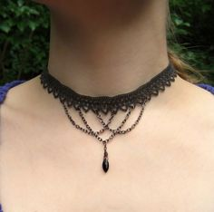 Gray ribbon, gunmetal chain, and black onyx choker -from RedSnake on Etsy $37 #jewelry #necklace #gothic