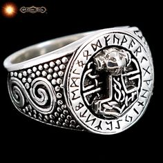 SOLID 20 GRM Sterling Silver Thors Hammer Ring - Viking Futhark Runes Sz10.25 #DragonSoul #Viking