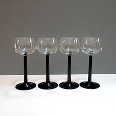 Black Stemmed Champagne Coupe Wine Glasses France by CoconutRoad