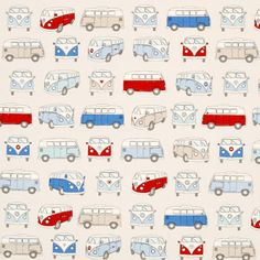 You'll want to pack your clothes for a weekend of fun when you see the Campervans Curtain Fabric Blue. This whimsical curtain fabric will make you smile every time you see it and want to head for the great outdoors.