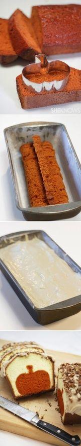 how to make a shape inside a loaf cake