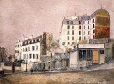 utrillo paintings | Paris Rue Ravignan 1913 - Maurice Utrillo reproduction oil painting