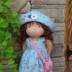 Купить Куколка Диане)) - голубой, вальдорфская кукла, waldorf doll, кукла с одежками, шерсть, хлопок