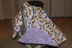 Purple Doxen Weiner dog flannel car seat canopy by BBsBanners