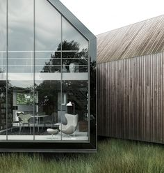 ✭Love the length of this native grass? Also adore the glass building  old timber cladding, just beautiful!