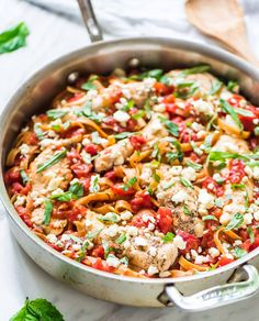 One Pan Feta Chicken Pasta. Only 5 ingredients! Everything cooks in one pan, including the pasta. EASY, delicious recipe and a crowd-pleaser.