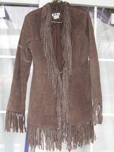 Boho dark brown  Suede leather long FRINGED COAT