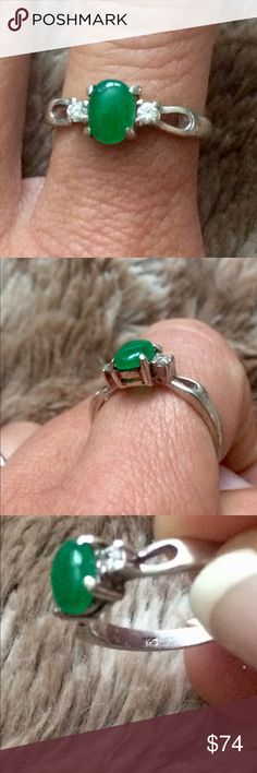 Vintage Genuine Emerald 925 Sterling Silver ring Beautiful genuine Cobochan cut Emerald with White Topaz side stones set in a 925 sterling silver ring. Vintage. Size 7. Jewelry Rings