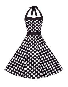 Zarlena Robe style Rockabilly (année 50) Noir à pois blancs: Amazon.fr: Vêtements et accessoires