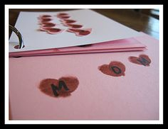 Bookmaking Project for Valentine's Day (fingerprint hearts made per letter of object loved) complete directions in blog article