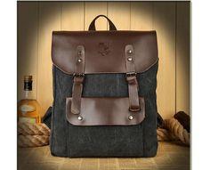 Canvas Rucksack Schultasche Sporttasche Backpack Reisetasche Herren Damen LEDER