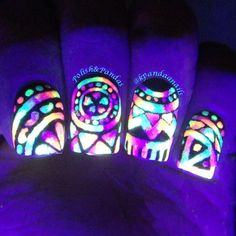 Glow in the dark stained glass window nails, nail art Cute Nail Art, Cute Nails, Pretty Nails, My Nails, Glow Nails, Nails Polish, Nail Photos, Crazy Nails, Dark Nails