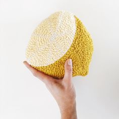 We love this big lemon created with a punch needle and DMC Natura Cotton yarn by Needle Cushion, Laetitia, Punch Needle, Embroidery, Photo And Video, Instagram, Crochet, Cotton, Lemon