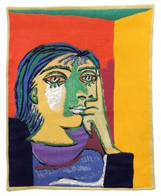 Woven in FranceHistory: Portrait De Dora Maar is a European jacquard wall tapestry based on the work of the same name by Pablo Picasso completed in 1937. Dora M