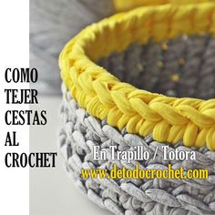 Todo crochet - Trapillo crochet -You can find Trapillo and more on our website. Crochet Fabric, Crochet Home, Diy Crochet, Fabric Patterns, Crochet Patterns, Honda Dominator, Cotton Cord, Knit Basket, Crochet Decoration