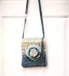 ReServed .. Raggle Taggle Gypsy Bag .. Turquoise Blue by ZiBagz
