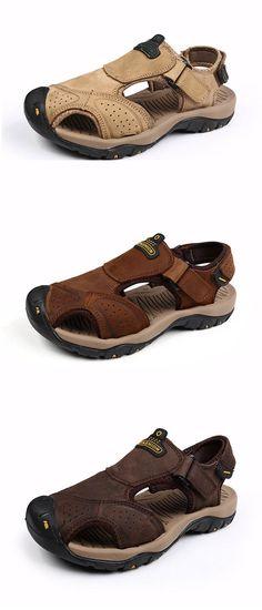US$43.51 Men Hook-Loop Anti-collision Toe Shock Absorption Outdoor Hiking Sandals