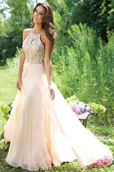 Pear Make Pretty Long Chiffon Beading Backless Prom Dresses For Teens K54