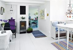 The Anonymous Shopaholic At Home: Norwegian style White Painted Wood Floors, White Walls, Decoration Inspiration, Interior Inspiration, Colour Inspiration, Norwegian Style, My Ideal Home, Home Room Design, Cozy Place