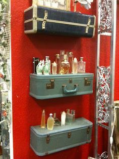 suitcase shelves....Master bath , if I could find some suitcases that I actually wouldn't mind cutting in half