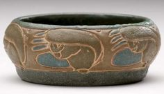 """Frederick Hurten Rhead (1880-1942) - For University City Pottery - Squirrels Low Bowl. Incised, Painted & Glazed Pottery. Top View. University City, Missouri. Circa 1911. 2"""" x 4-3/4""""."""