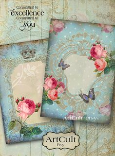 PALE BLUE BEAUTY - Digital Collage Sheet Printable Victorian Vignettes Greeting Cards Vintage Scrapbook