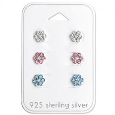 Baby and Children's Earrings:  Sterling Silver Gift Pack of 3 Pairs of Flower Earrings.  Great value gift packs of kids' earrings from Baby Jewels.