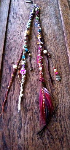 Feather hair clip//DoubleDreadlock Hair Extension/Hair Wrap//Dread Extension//Clip In Dread//ponytail hair wrap, hippie, feather hair wrap