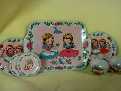 Vintage Childrens Dishes Cups and Tray Tin