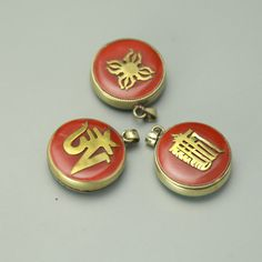 TGB048 Tibetan Prayer Box Amulet Pendants Copper Inlaid Colorful Stone Double Sides #Affiliate