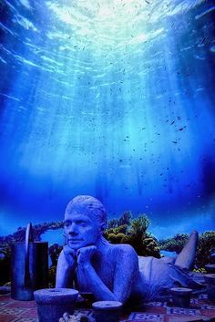 Underwater Museum placed underwater off the coast of Isla de Mujeres and Cancún, Mexico!
