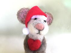 Xmas mouse Santa hat red heart mouse Christmas gifts by Felt4Soul